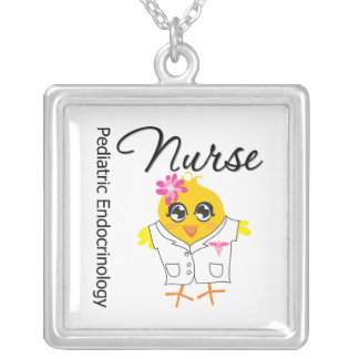 Pediatric Endocrinology Chick v2 Square Pendant Necklace