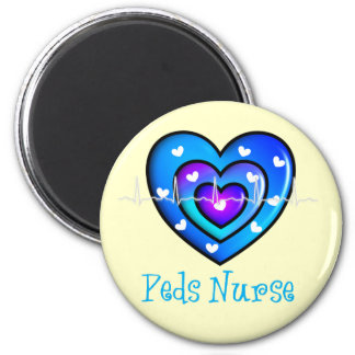 Pediatric Nurse Artsy Blue Heart Design Gifts 2 Inch Round Magnet