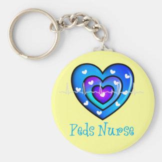 Pediatric Nurse Artsy Blue Heart Design Gifts Basic Round Button Keychain