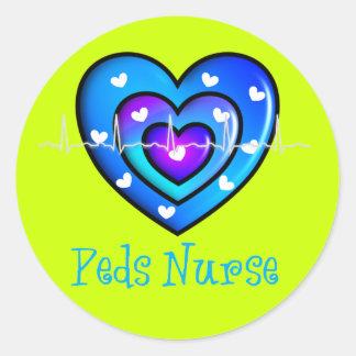 Pediatric Nurse Artsy Blue Heart Design Gifts Classic Round Sticker
