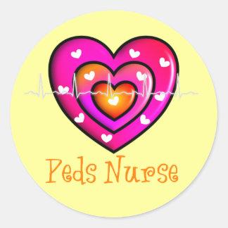 Pediatric Nurse Artsy Pink Heart Design Classic Round Sticker