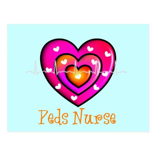 Pediatric Nurse Artsy Pink Heart Design Postcard