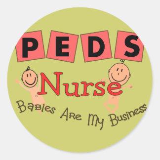 "Pediatric Nurse ""Babies Are My Business"" Classic Round Sticker"