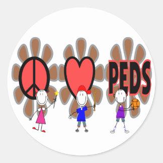 """Pediatric Nurse--""""Peace Love Pediatrics"""" Cute Classic Round Sticker"""