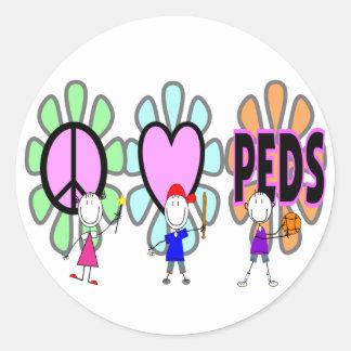 "Pediatric Nurse ""Peace-Love-Pediatrics"" Gifts Classic Round Sticker"