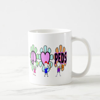"Pediatric Nurse ""Peace-Love-Pediatrics"" Gifts Coffee Mug"