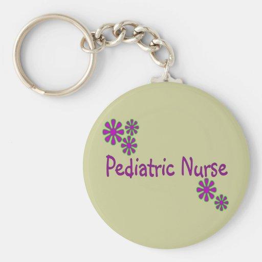 Pediatric Nurse Purple Flowers Keychains