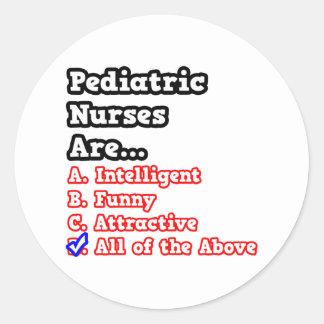 Pediatric Nurse Quiz...Joke Classic Round Sticker