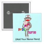Pediatric Nurse Sock Monkey Design 2 Inch Square Button