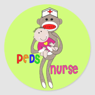Pediatric Nurse Sock Monkey Design Classic Round Sticker