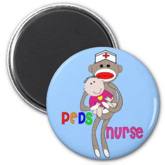 Pediatric Nurse Sock Monkey Design Magnet