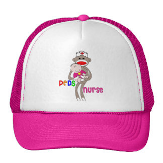 Pediatric Nurse Sock Monkey Design Trucker Hat