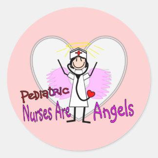 Pediatric Nurses are Angels Classic Round Sticker
