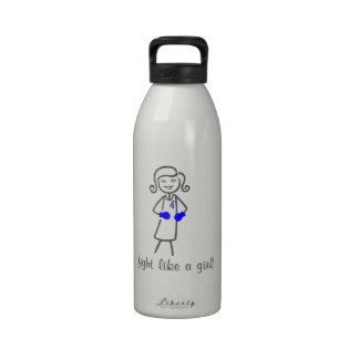 Pediatric Stroke Fight Like A Girl (Retro) Reusable Water Bottles