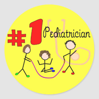 Pediatrician #1 Adorable Kids Design Gifts Classic Round Sticker