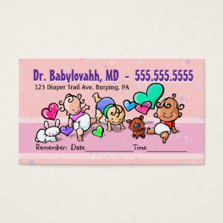 Pediatrician.Baby Doctor.Clinic.Appointment remind Business Card