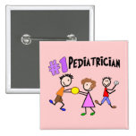"""Pediatrician Gifts """"# 1"""" Stick People Design Pinback Buttons"""