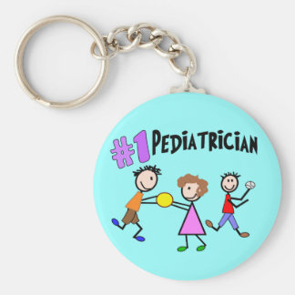 "Pediatrician Gifts ""# 1"" Stick People Design Keychain"