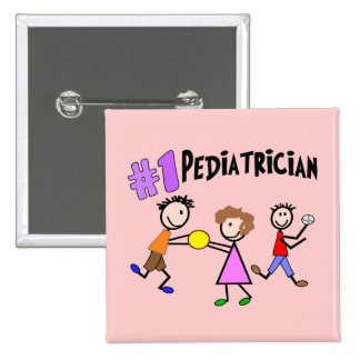 "Pediatrician Gifts ""# 1"" Stick People Design Pinback Button"