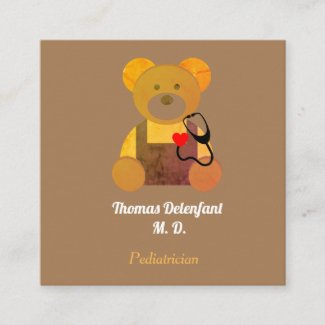 Pediatrician -  orange teddy  - stethoscope  square business card