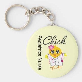 Pediatrics Nurse Chick v2 Basic Round Button Keychain