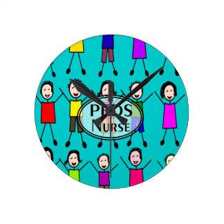 Pediatrics Nurse Stick Kids Design Round Clock