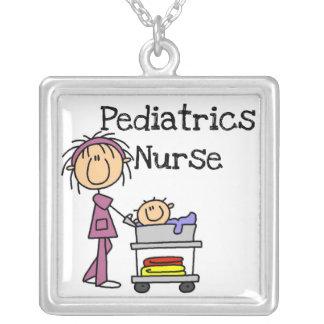 Pediatrics Nurse Tshirts and Gifts Square Pendant Necklace