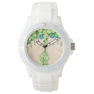 Pedicure verde de las uvas reloj de mano