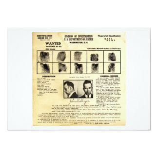Pedido de DOJ Identifcation John Dillinger 1217 Invitación 12,7 X 17,8 Cm