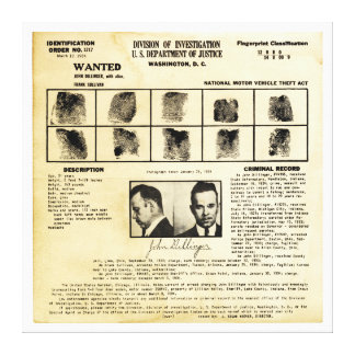 Pedido de DOJ Identifcation John Dillinger 1217 Impresiones En Lona