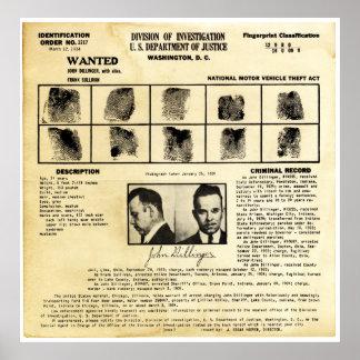 Pedido de DOJ Identifcation John Dillinger 1217 Impresiones
