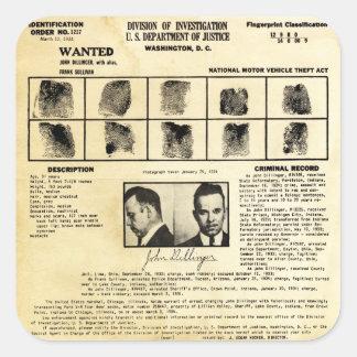 Pedido de DOJ Identifcation John Dillinger 1217 Pegatina Cuadrada