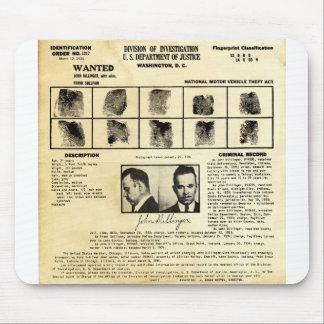 Pedido de DOJ Identifcation John Dillinger 1217 Tapetes De Ratón