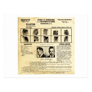 Pedido de DOJ Identifcation John Dillinger 1217 Postal