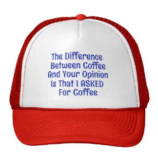 Pedido el café no su casquillo del gorra de la