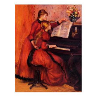 Pedro-Auguste Renoir- la lección de piano Tarjetas Postales