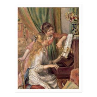 Pedro chicas jóvenes de Renoir un | en el piano Postales