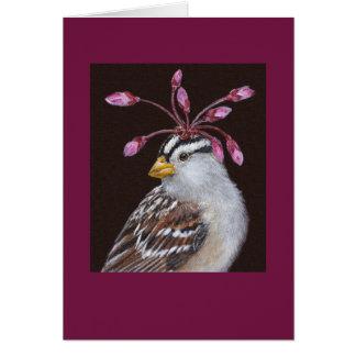 Pedro la tarjeta blanco-coronada del gorrión