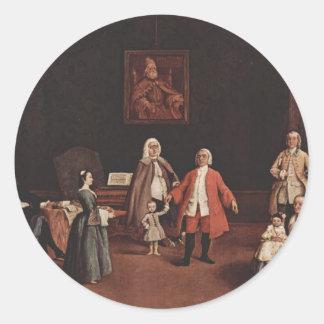 Pedro Longhi- la familia veneciana Etiquetas Redondas
