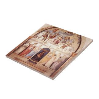 Pedro Perugino: Trinidad y seis santos Azulejo Cerámica