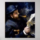 Pedro Renoir - Claude Monet que lee un periódico Posters