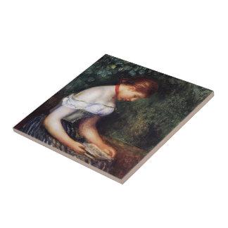 Pedro Renoir- el lector (mujer joven asentada) Teja Cerámica