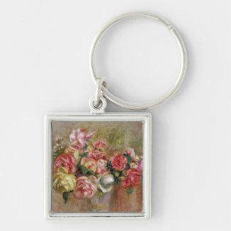 Pedro rosas de Renoir un | en un florero de Sevres Llavero Cuadrado Plateado