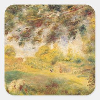 Pedro un paisaje de la primavera de Renoir el | Pegatina Cuadrada