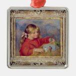 Pedro un Renoir el | Claude Renoir en Play, 1905 Adorno Navideño Cuadrado De Metal