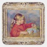 Pedro un Renoir el | Claude Renoir en Play, 1905 Pegatina Cuadrada