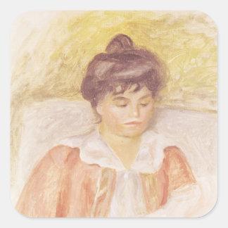 Pedro un retrato de Renoir el | de señora Albert Pegatina Cuadrada