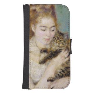 Pedro una mujer de Renoir el | con un gato, c.1875 Fundas Billetera De Galaxy S4