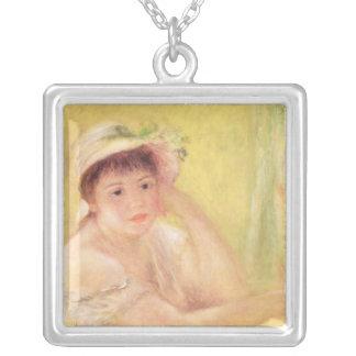 Pedro una mujer de Renoir el | en un gorra de Colgante Cuadrado