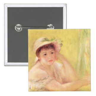 Pedro una mujer de Renoir el | en un gorra de Pin Cuadrado